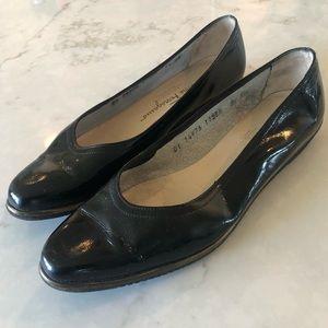 Salvatore Ferragamo Black Patent Leather Flats
